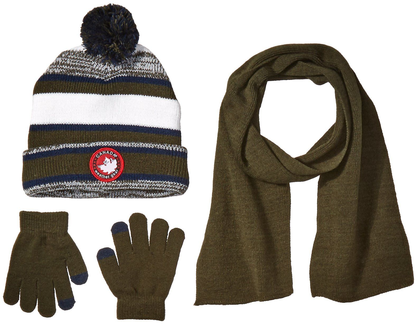 9adf29bfd86 Canada Weather Gear Big Boys Brady Beanie with Scarf and Tech Touch Gloves