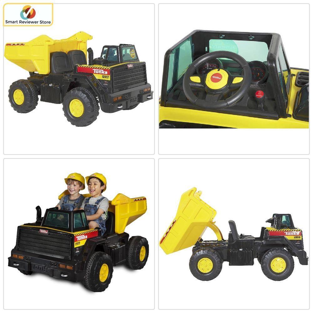 12 Volt Ride On Dump Truck Steering Wheel Battery Ed Kids Play Toy Black Tonka