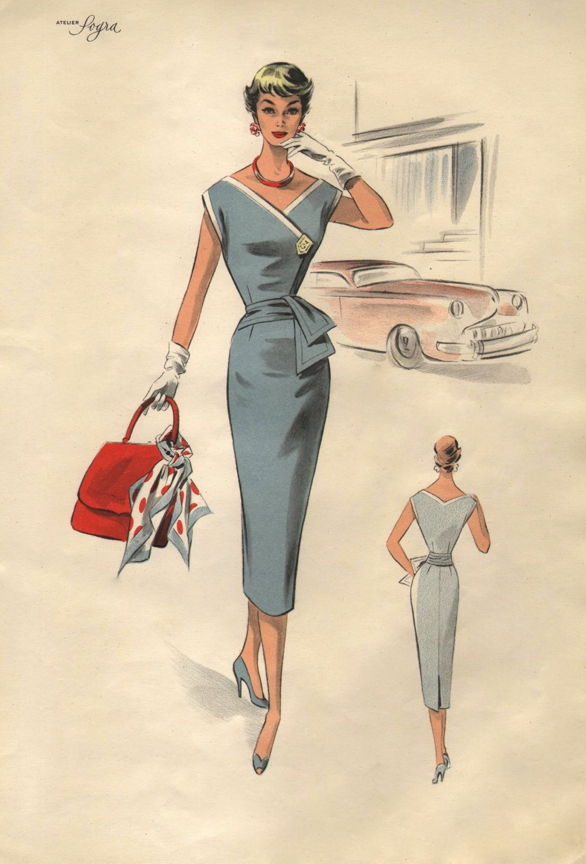 Lovely 1950s Era Fashion Illustration Of A Sleeveless Dress With Slim Skirt Fashion Illustration Vintage Vintage Dress Patterns Vintage Outfits
