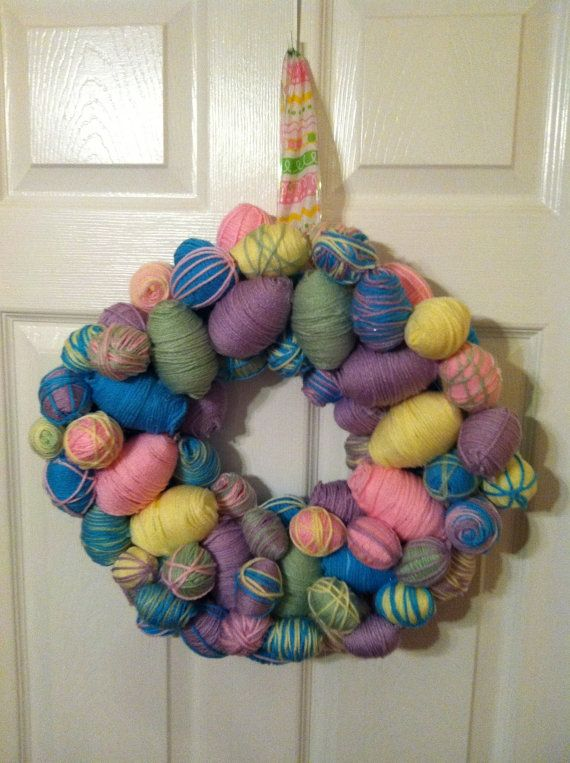Easter Egg Wreath by TrulyLulu on Etsy, $29.00