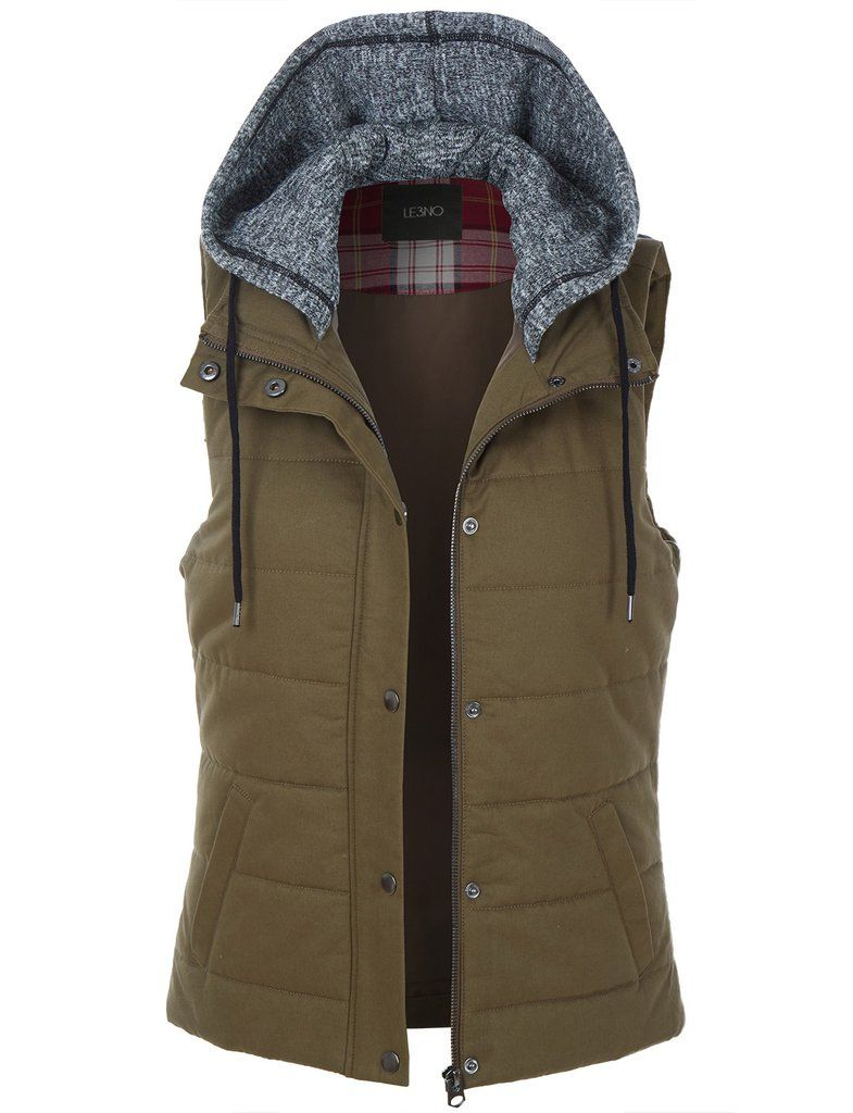 81151d3e4f3 LE3NO Womens Quilted Padded Sleeveless Puffer Vest