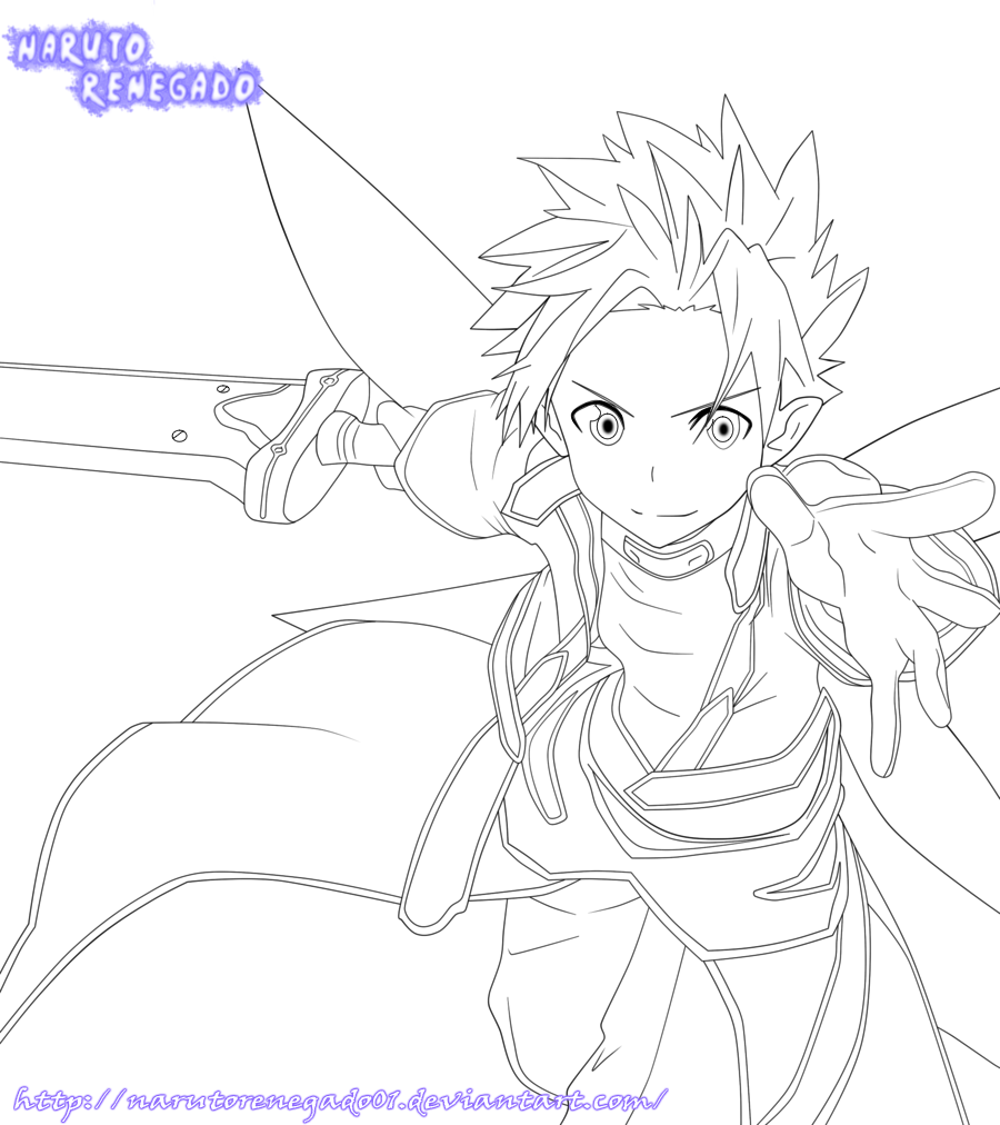 Sword Art Online: Kirito Lineart by NarutoRenegado01 on