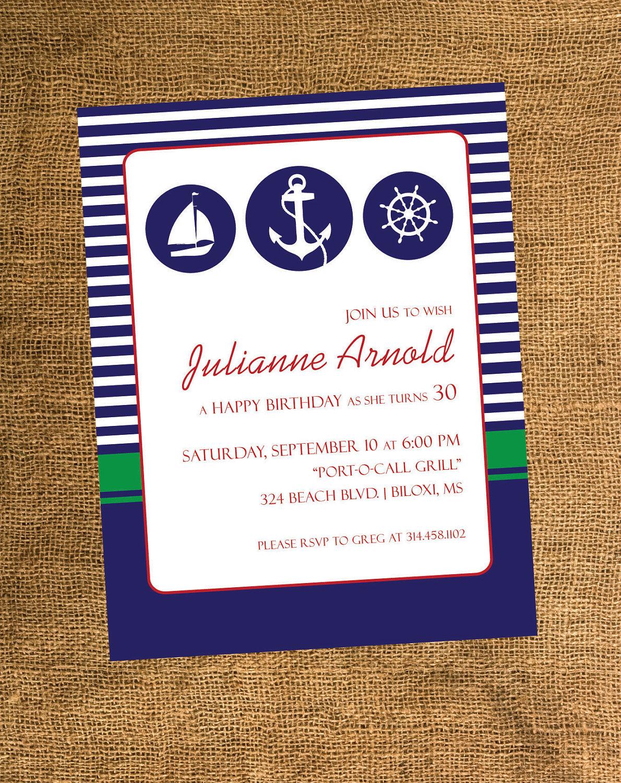 Nautical Theme Adult Birthday Party Invitations. $15.00, via Etsy ...