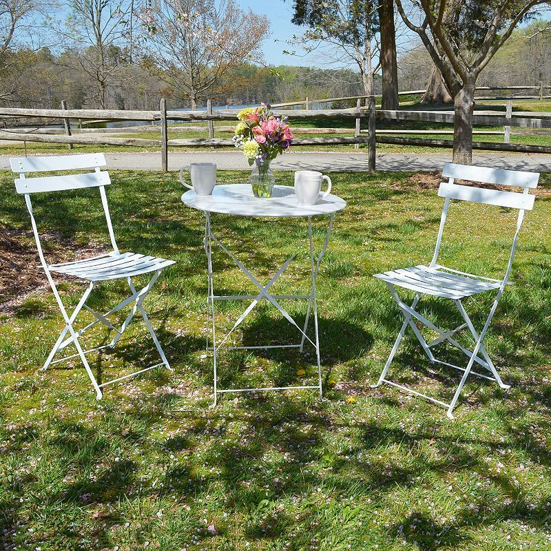 Malibu Outdoor Bistro Table Folding Chair 3 Piece Set