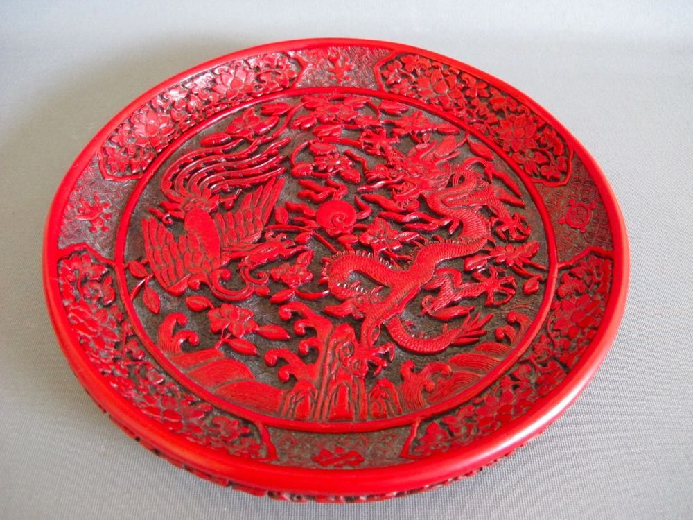 OLD CHINESE CINNABAR LACQUER DRAGON PHOENIX DECORATIVE PLATE 8\  & OLD CHINESE CINNABAR LACQUER DRAGON PHOENIX DECORATIVE PLATE 8 ...