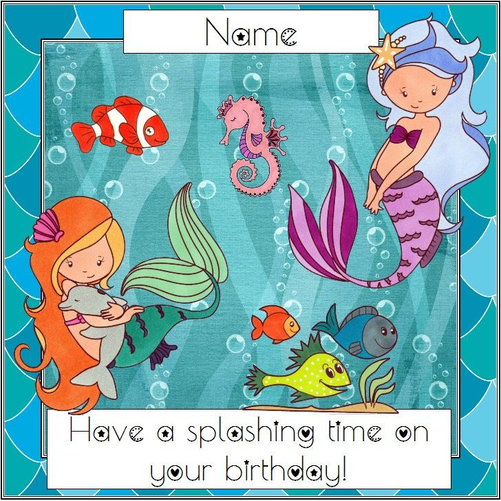 Mermaid Birthday Card Personalised Mermaid Greetings Little Mermaid Card For Her Card For Girl Under The Sea Under Mermaid Birthday Birthday Cards Cards