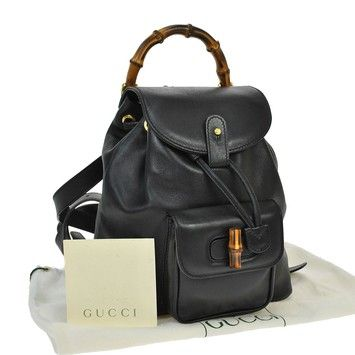 4cece6d34f5c Gucci Gg Logos Bamboo Hand Leather Vintage Italy Backpack. Get one ...