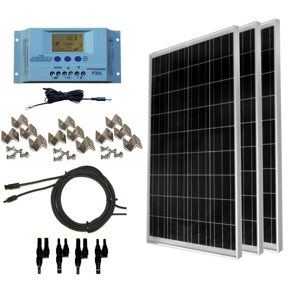 Grape Solar 540 Watt Off Grid Solar Panel Kit Gs 540 Kit Bt The Home Depot Solar Kit Solar Panel Kits Solar Panels
