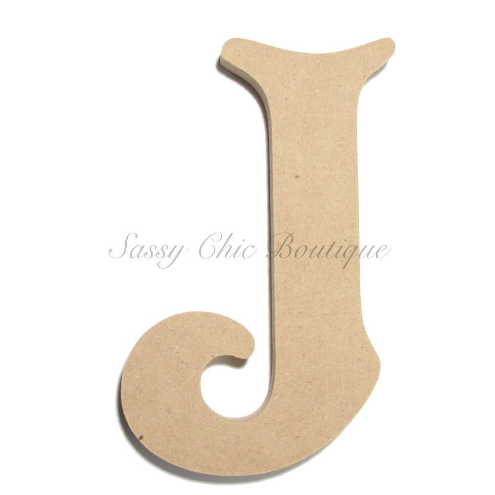 unfinished wooden letter uppercase j victorian font