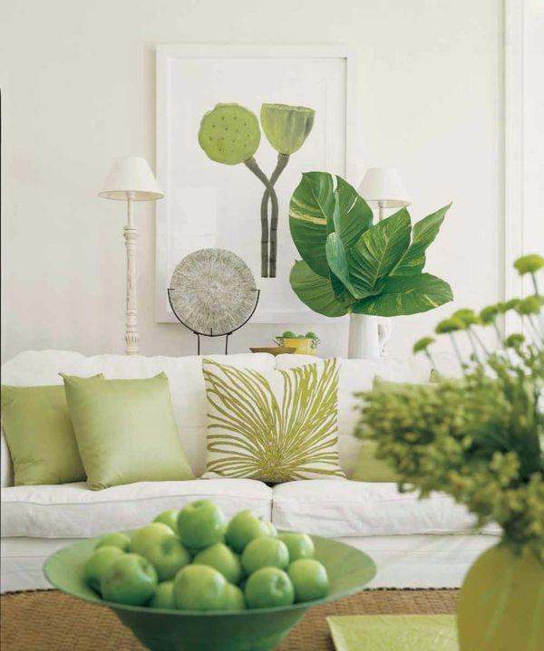 Wohnideen Wohnzimmer-ein ruhiges Gefühl durch die Farbe Grün - wohnideen wohnzimmer grun
