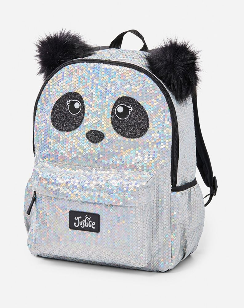 cd7a46c21b31 Justice Girl s Sparkle Sequin PANDA Backpack NWT  Justice  Bookbag