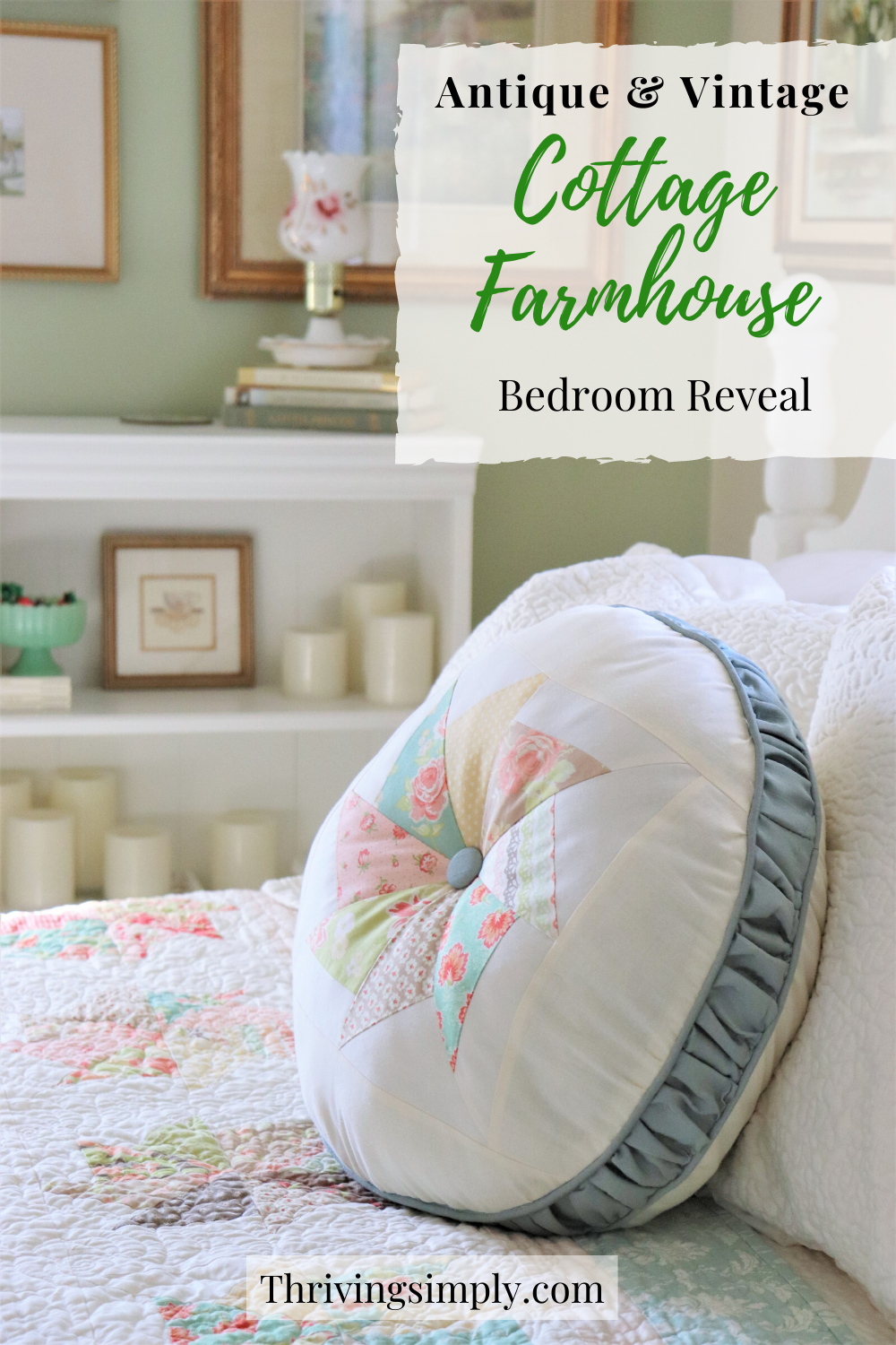 Antique & vintage inspired, get fresh ideas for a cottage farmhouse style bedroom makeover! Includes simple furniture flips & easy, budget friendly DIY projects to create the vintage cottage style you love! #cottagefarmhouse #cottagebedroom #farmhousebedroom #cottagestyle