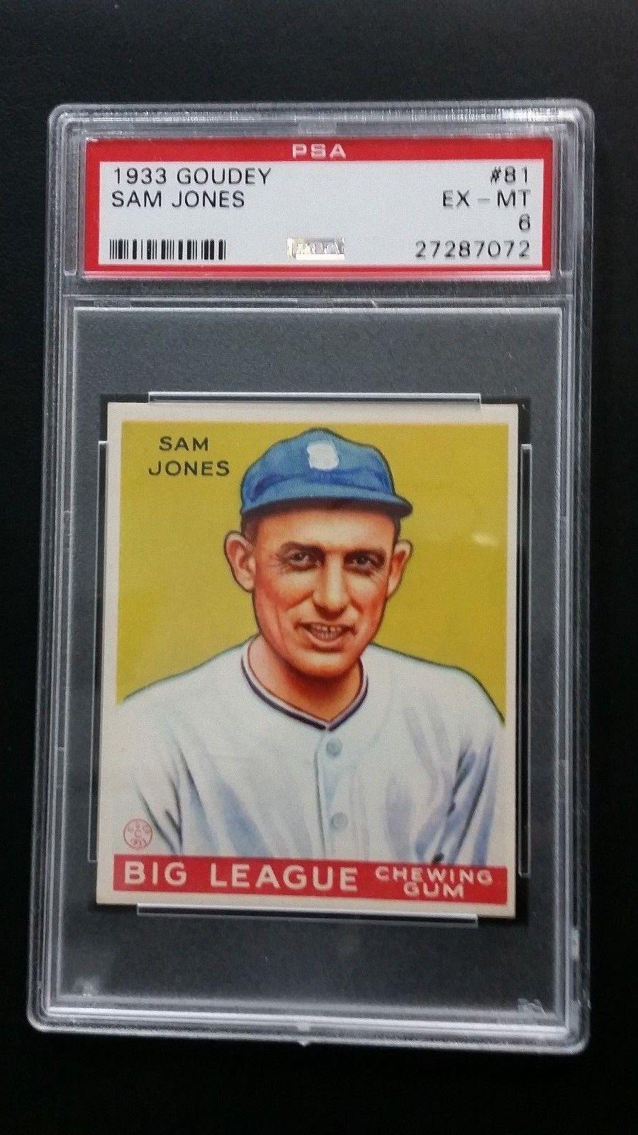 1933 Goudey 81 Sam Jones Psa Ex Mt 6 Big League Chewing