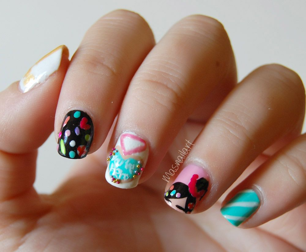 Más nail art. Wreck-it Ralph Disney nails, Vanellope :D   Más nail ...