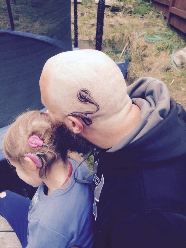 Coolest dad ever gets cochlear implant tattoo to match his for Kids with real tattoos