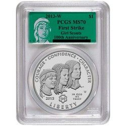 2013 W Girl Scouts Silver Dollar MS70 FS PCGS Green Girl Scouts Label