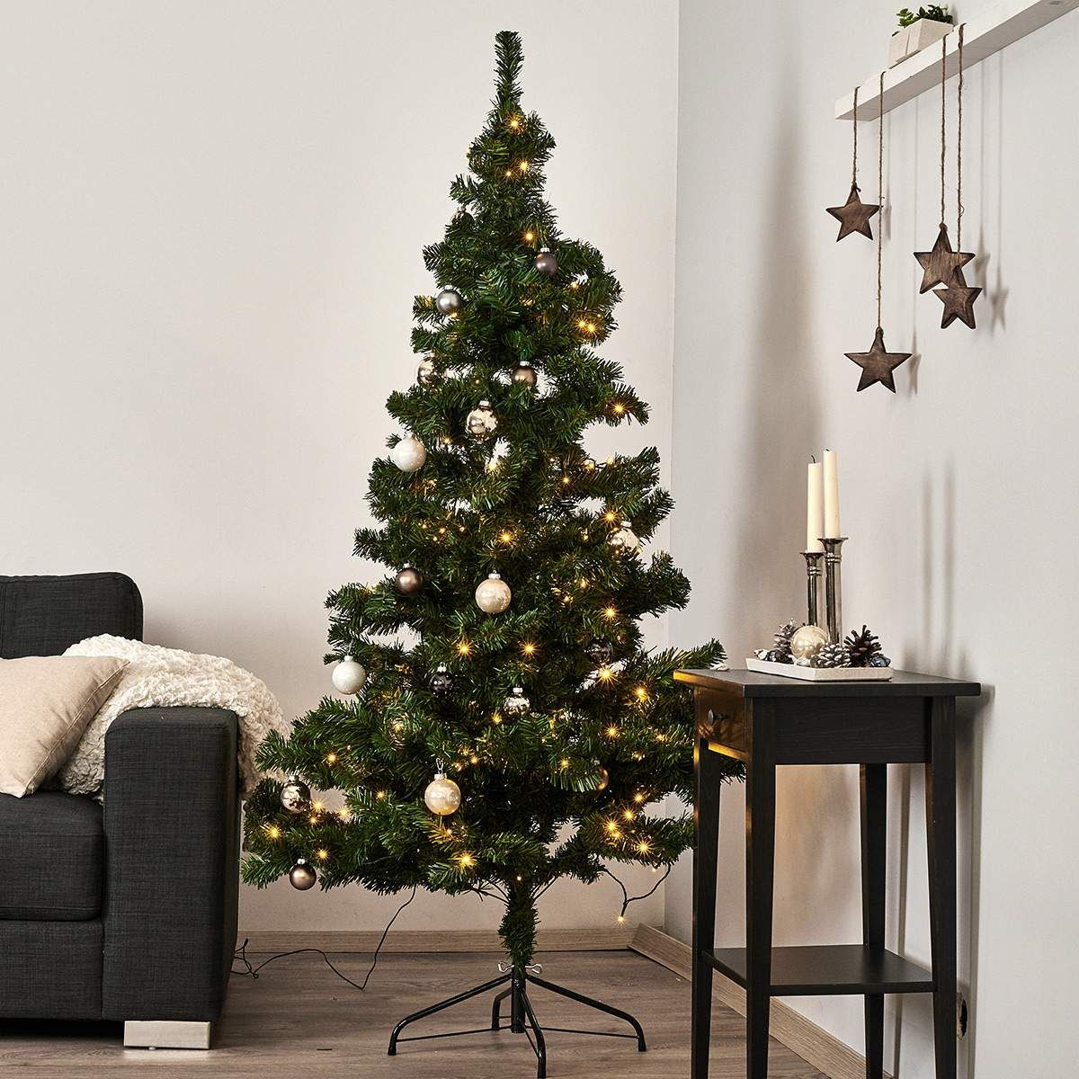 Sapin De Noel 210 Best Season Sapin d'intérieur LED de 210 cm Decorations vert Arbre
