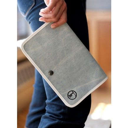 Malibu Clutch by Lyndsey Hamilton for Fleabags. Blue denim front flap detailed with white leather (lined with natural canvas) and white leather body.