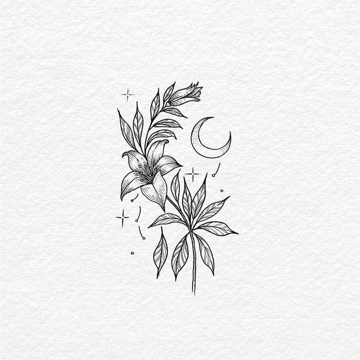 Photo of s'abaisse par le croissant de lune. Encre sur papier. Flash de tatouage disponible. Désolé pour t …