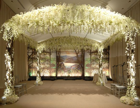 All White Indoor Wedding Ceremony Site: Magical All-White Floral Gazebo By Presto Bailey #wedding