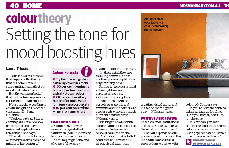 Colour theory and application for interior design. Article in the Mosman Daily (p40) 28 April 2016.