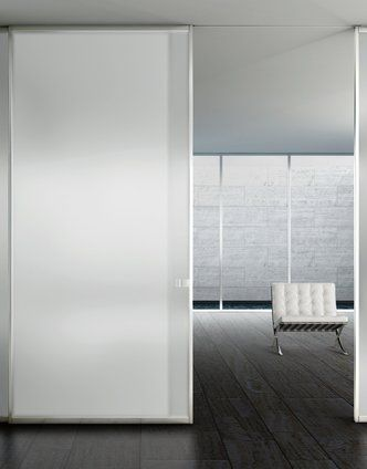 Modern interior sliding door frosted glass panel with stainless ...