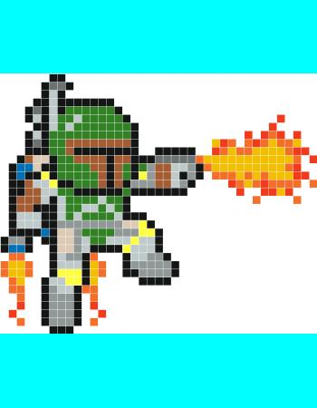 Boba Fett Pixel Art Stickaz Easy Pixel Art Minecraft