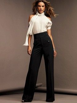dcc79982a2315 Vintage Style Picks-40′s Look High Waist Wide Leg Pants. I wish I could find  this outfit!