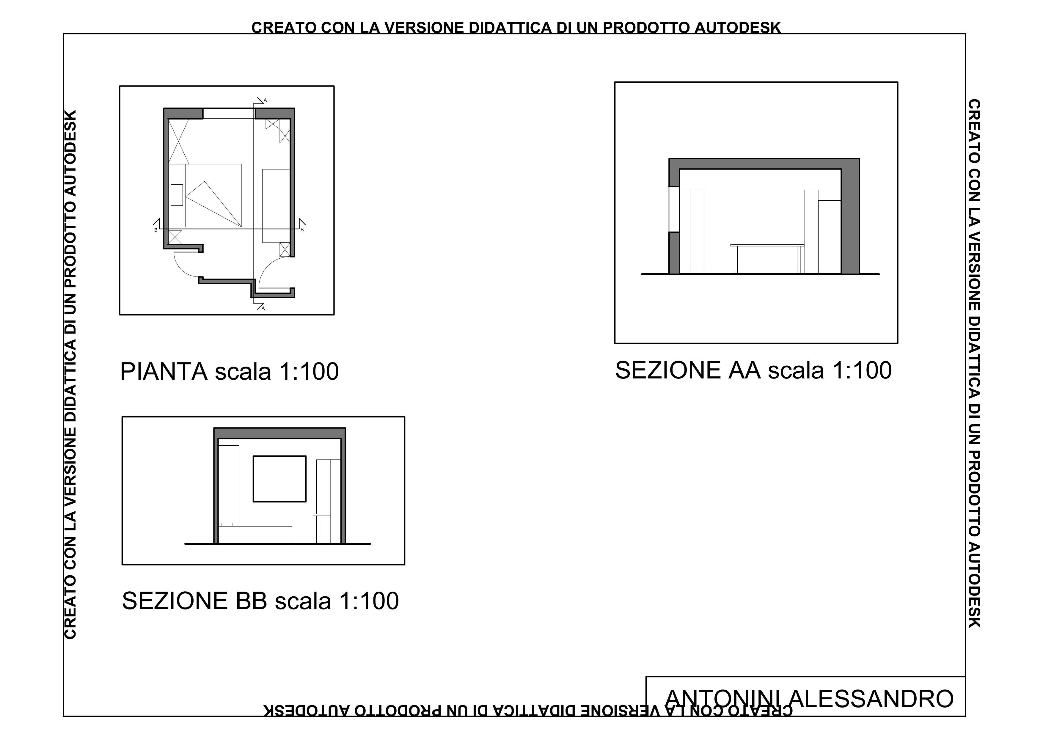Camera da letto in pianta con due sezioni, scala 1:100 ...