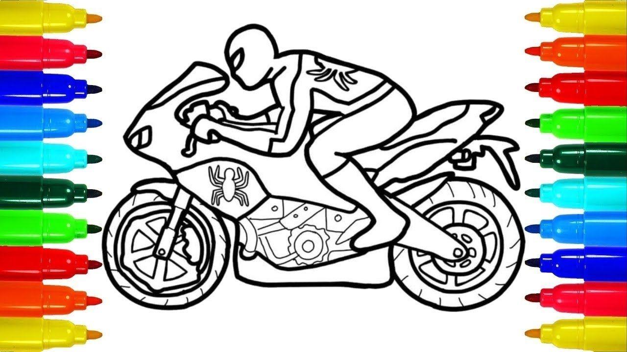 Spiderman Motorcycle Superheroes Motorbike Bike Coloring Video For Kids Spiderman Kids Diy Crafts For Kids