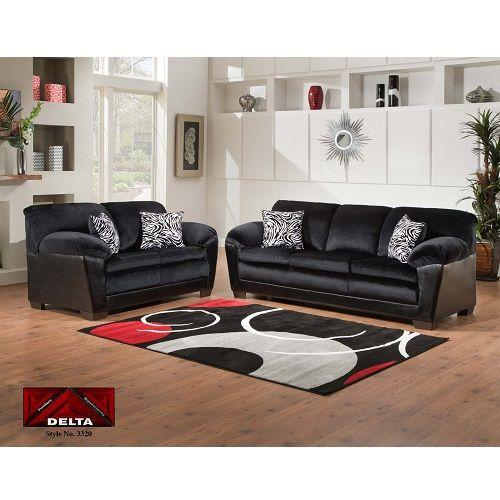 Sierra Black Sofa Loveseat Set By Delta Furniture 7dayfurniture