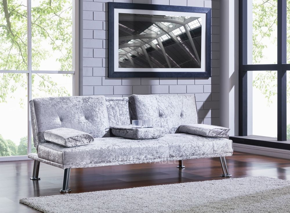 details about crushed velvet fabric silver black sofa bed