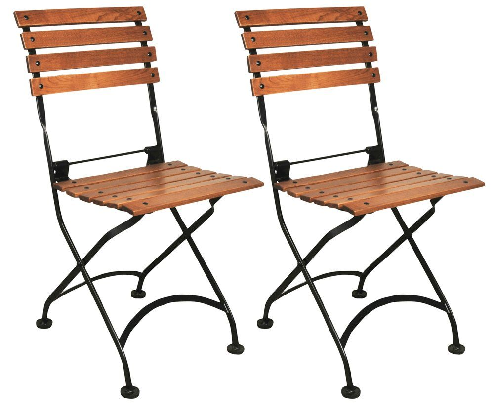 French cafe chairs table - Furniture Designhouse French Caf Bistro Folding Side Chair Jet Black Frame European Chestnut Wood Slats With Walnut Stain Pack Of 2 Details Can Be Found