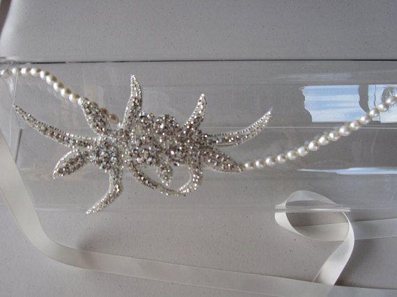 Halo pearls headband with crystal applique and ivory satin ribbon