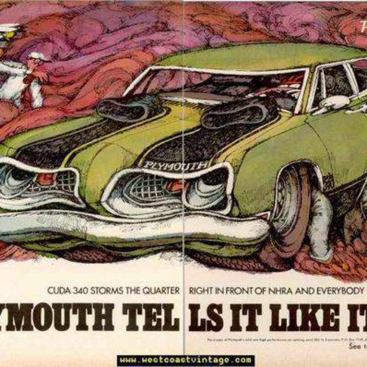 1969 Plymouth Barracuda Psychedelic Burnout TELLS IT Vintage Ad from ...