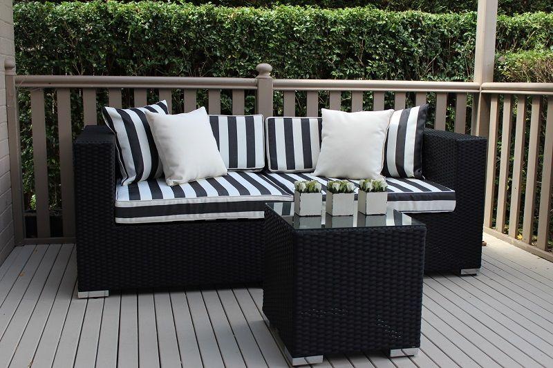 Gartemoebe 2 Seater Wicker Outdoor Furniture Lounge Setting,b/w Stripes