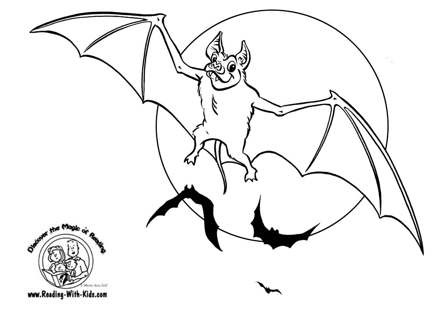 Halloween Bat Coloring Page | School ideas | Pinterest