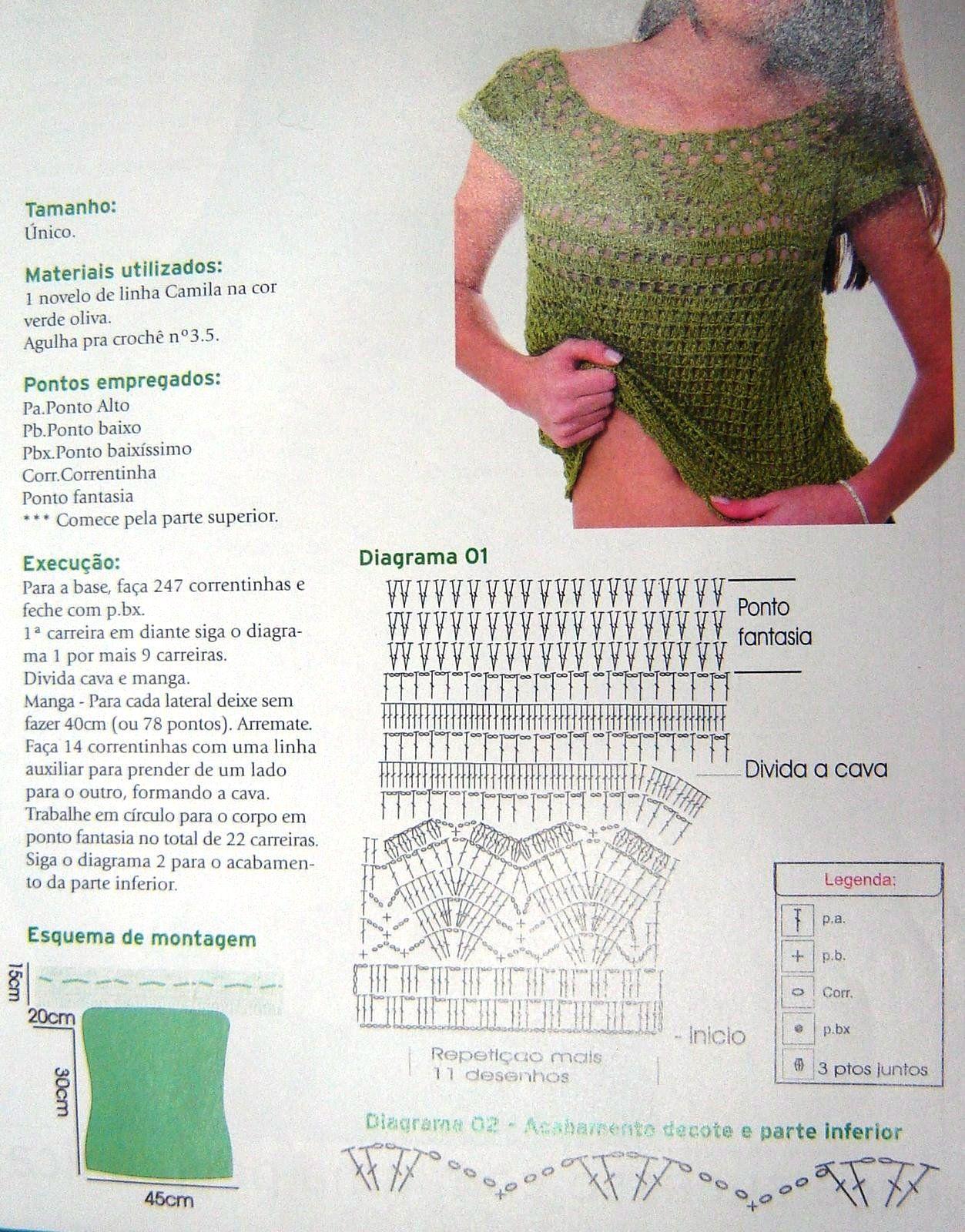 bej 1- schema   crochet tops, blouse   Pinterest   Patrones ...