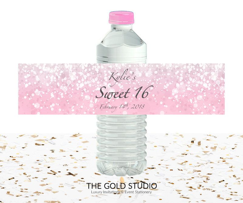 Printable Blush Pink Water Bottle Labels Sweet 16 Custom Cover Sweet Sixteen Drink Sticker For Mac Or Pc Word O Custom Bottles Pink Water Bottle Bottle Labels