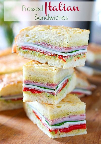 Pressed Italian Sandwiches- great picnic sandwich idea.