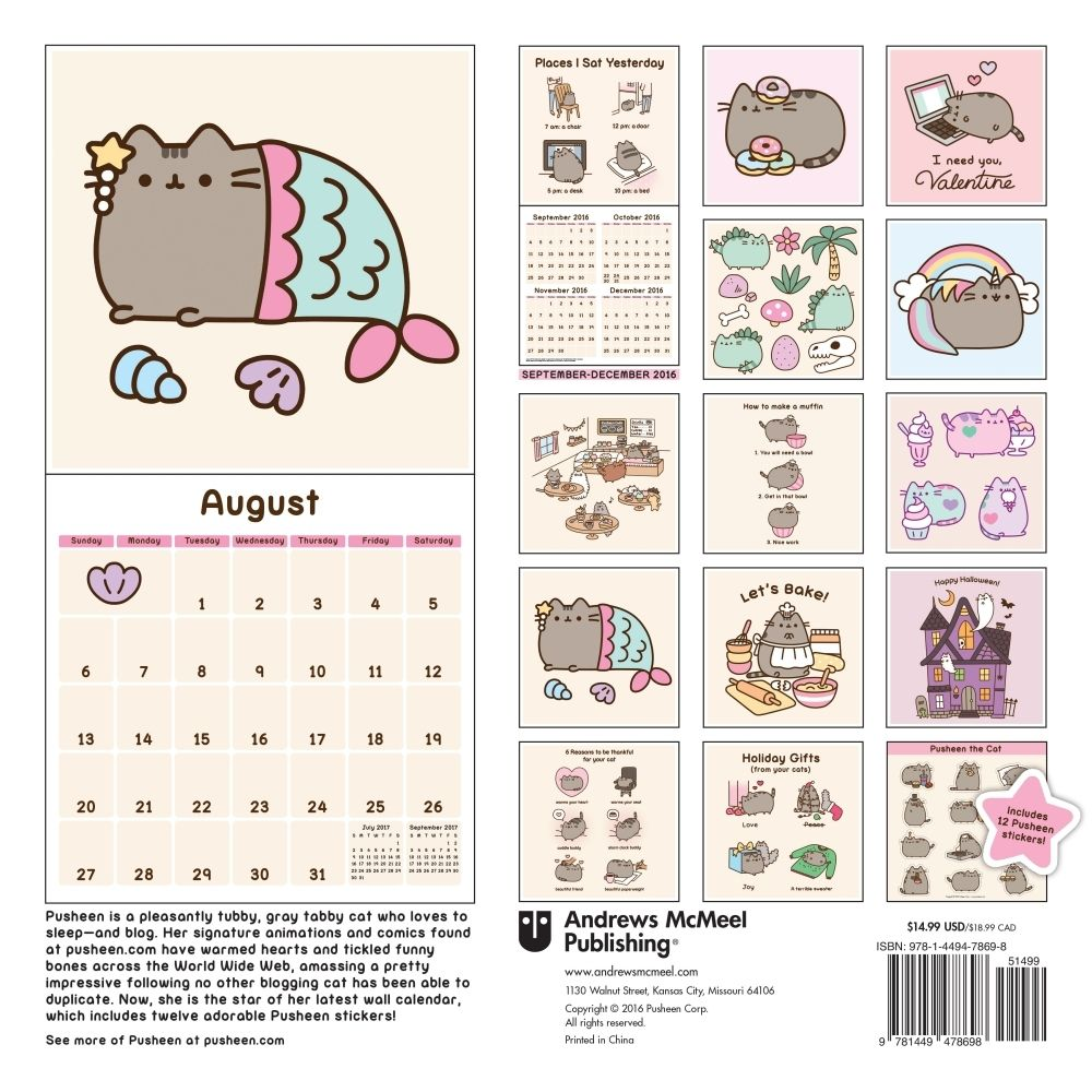 Pusheen 2020 Wall Calendar Pusheen, Cat wall, Calendar
