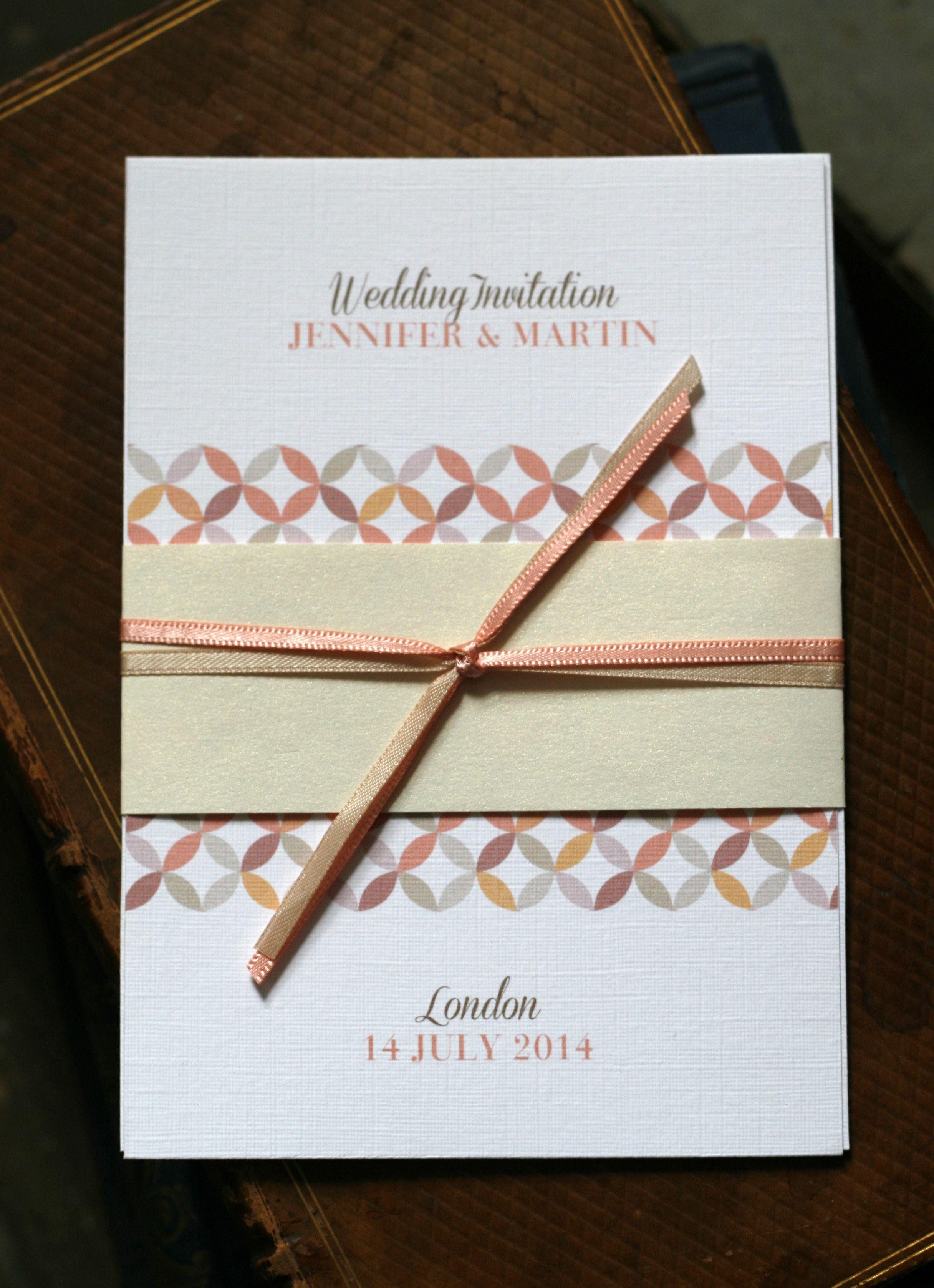 Modern mid century geometric wedding invitation in peach and light ...