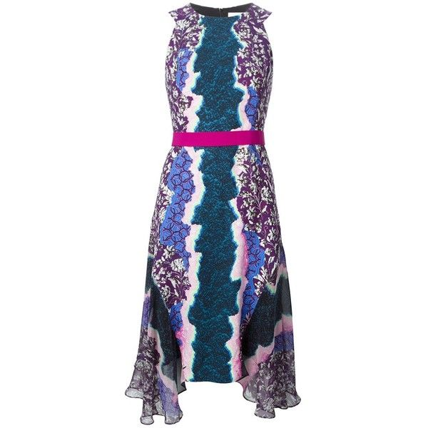 Peter Pilotto Flux Dress (€690) ❤ liked on Polyvore featuring dresses, multicolour, digital print dress, zipper back dress, multi colored dress, peter pilotto and peter pilotto dresses