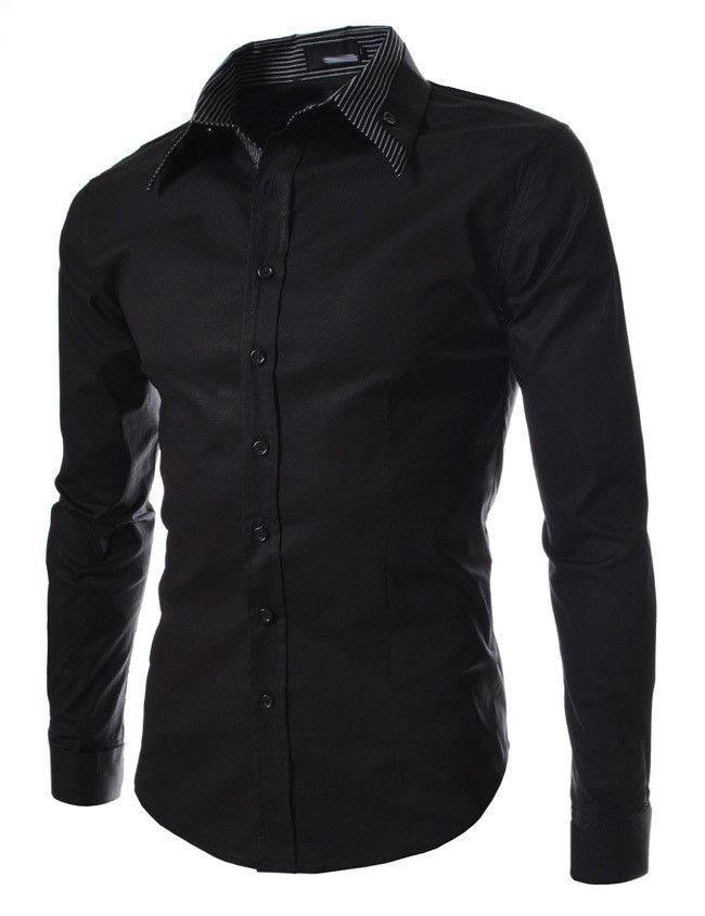 76e1fae725e0 2015 Brand Mens Dress Shirts Men Double Collar Slim Fit Long Sleeve Shirt  Camisa Masculina Casual Shirts Good Quality Size:M-XXL