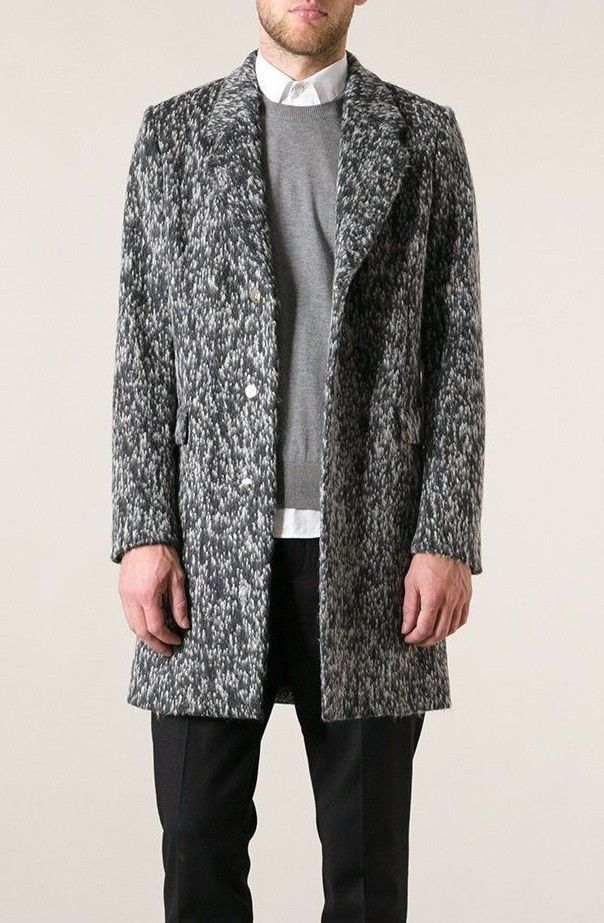 169ac4f491c Authentic Paul Smith Grey wool-alpaca blend single breasted coat Mens Size L