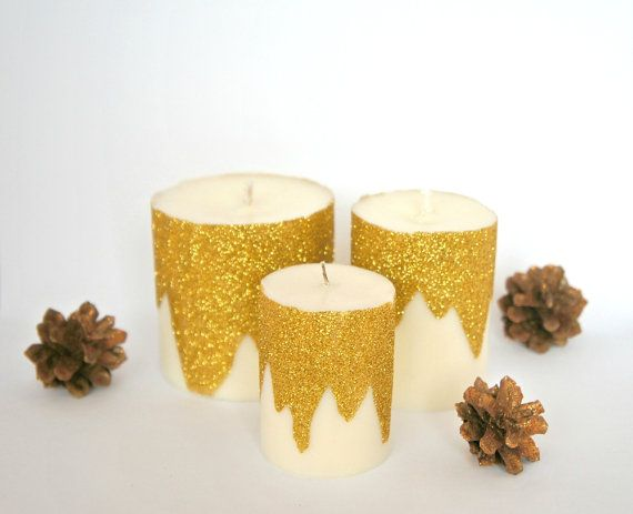 Christmas Candle – Winterland Candles – Gold Glitter Candle