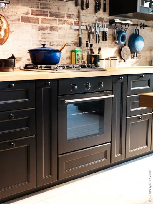 Ikea METOD In Laxarby Black, And Just Fyi The Finish On The Brick  Backsplash Is Called A German Schmere. A Smere Of Stucco