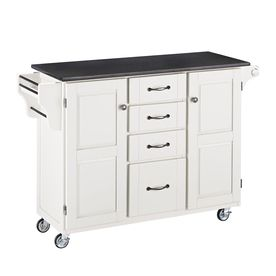 Home Styles 52.5-in L x 18-in W x 35.75-in H White Kitchen Island with Casters and Black Granite Top