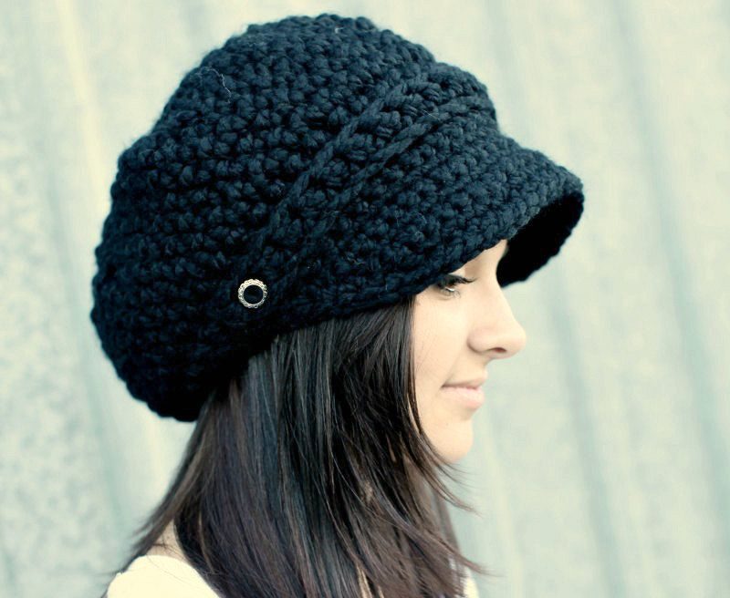 Black Hat Black Newsboy Hat Black Crochet Hat Black Womens Hat Black Slouchy Hat Fall Fashion Winter Accessories #crochethats