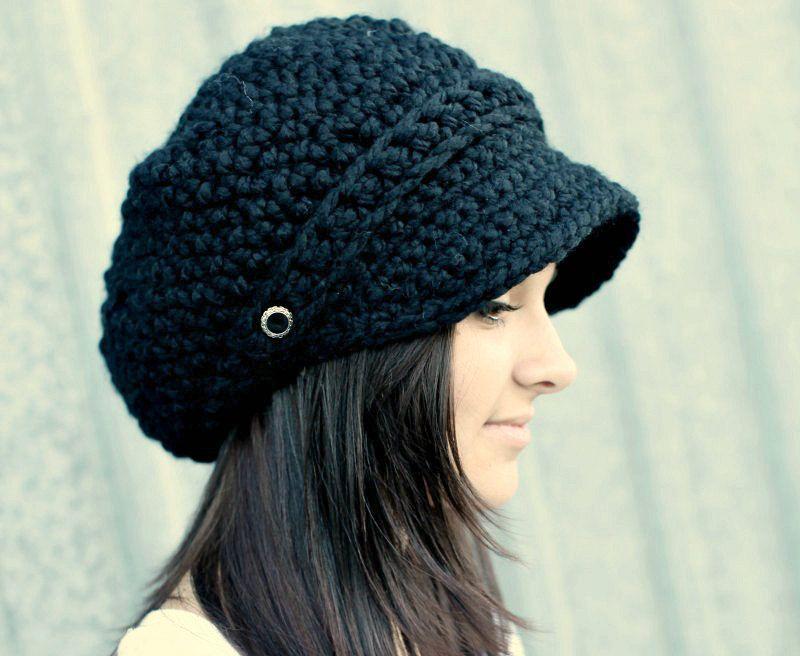Black Hat Black Newsboy Hat Black Crochet Hat Black Womens Hat Black ...